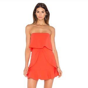 BCBGMaxAzria Charlot Strapless Ruffle Dress